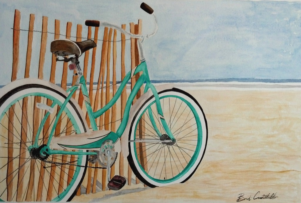 Brandi Criscitiello - teal bicycle watercolor